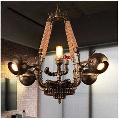 Pendant Lights American Retro Warehouse Industrial Cafe Restaurant Bar The Living Room Creative Wrought Iron 6 Heads Steam Pipe Droplight Discounts Sale