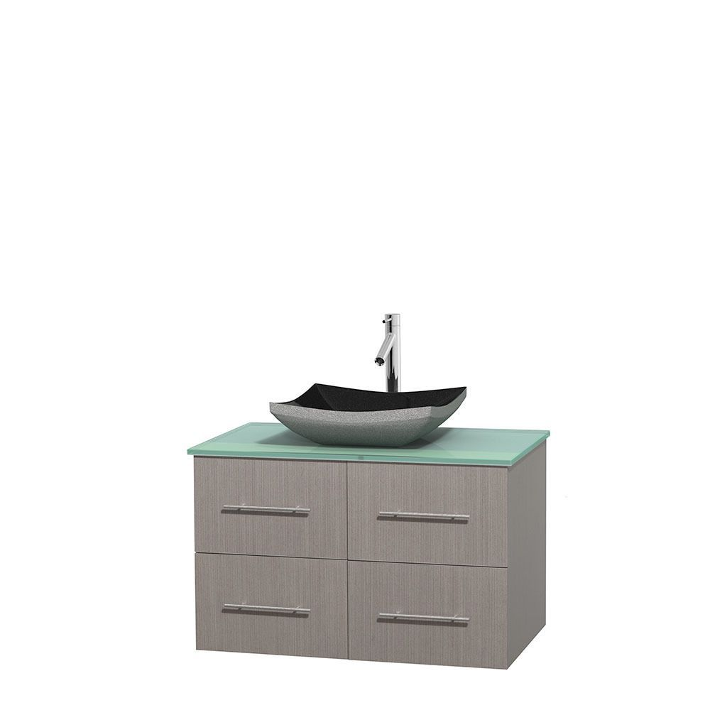 mirror size for 36 vanity. Wyndham Collection Centra 36 Inch Single Bathroom Vanity In Grey Oak  No Mirror Black Granite Ivory Marble Or White Carrera GN Glass Top