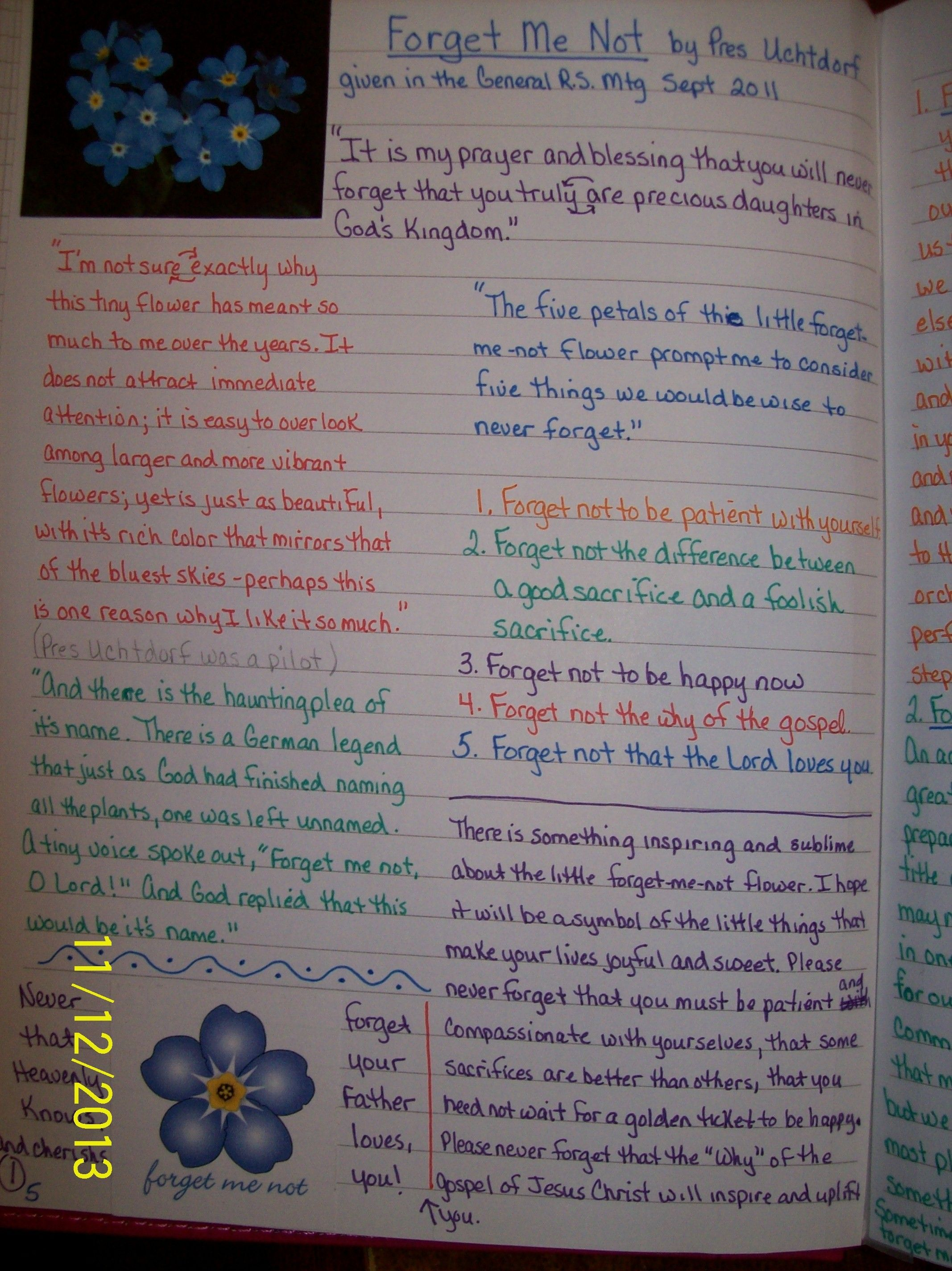 Forget me Not talk by Pres. Uchtdorf in Kim's Story Journal