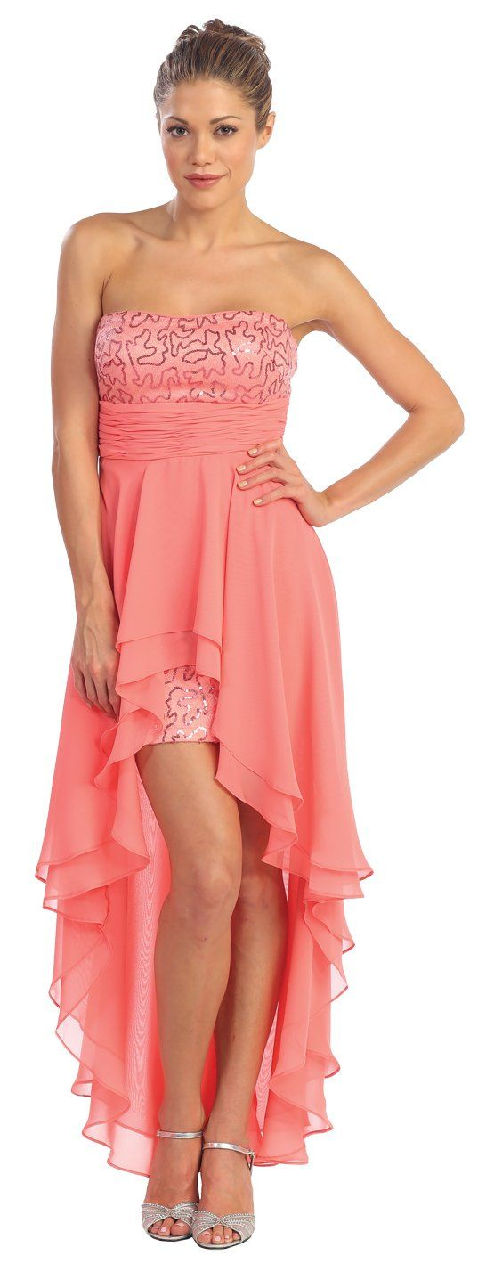 Popular High Low Coral Cocktail Semi Formal Dress Strapless (11 ...