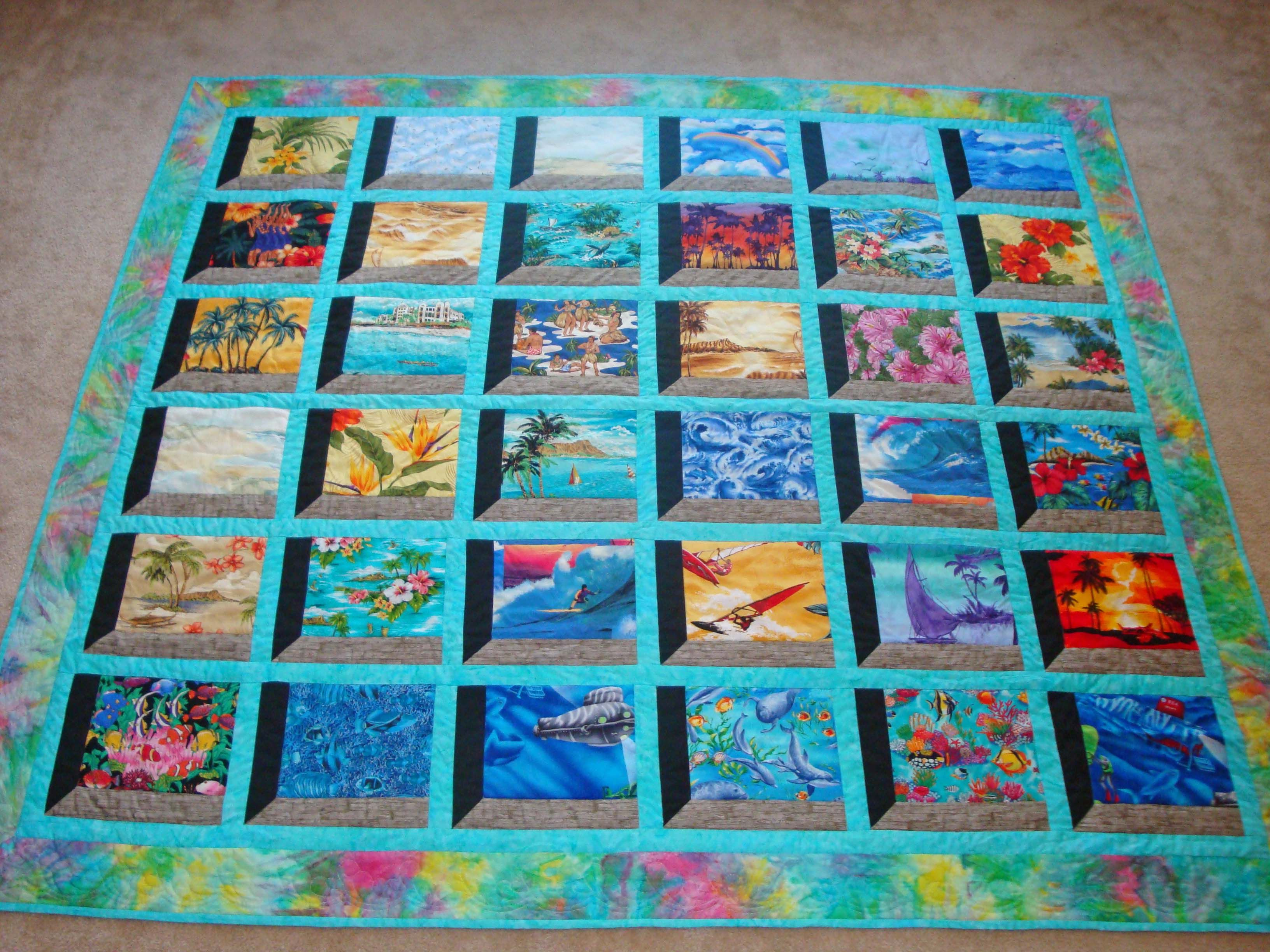Great 3D effect, great way to showcase a theme. Hawaii quilt - Scrapbook.com