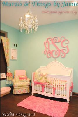 pink and green nursery decor with aqua wall paint color monogrammed for a baby girl - Baby Girl Bedroom Decorating Ideas