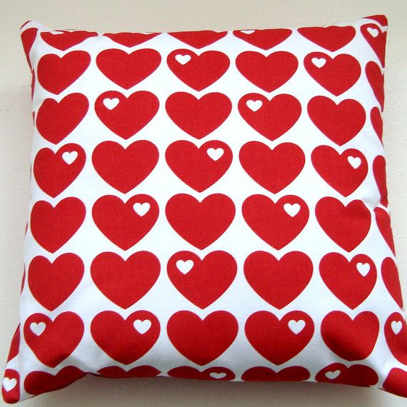 Bright Red Hearts Retro Pillow / Cushion Cover by madebylisajane