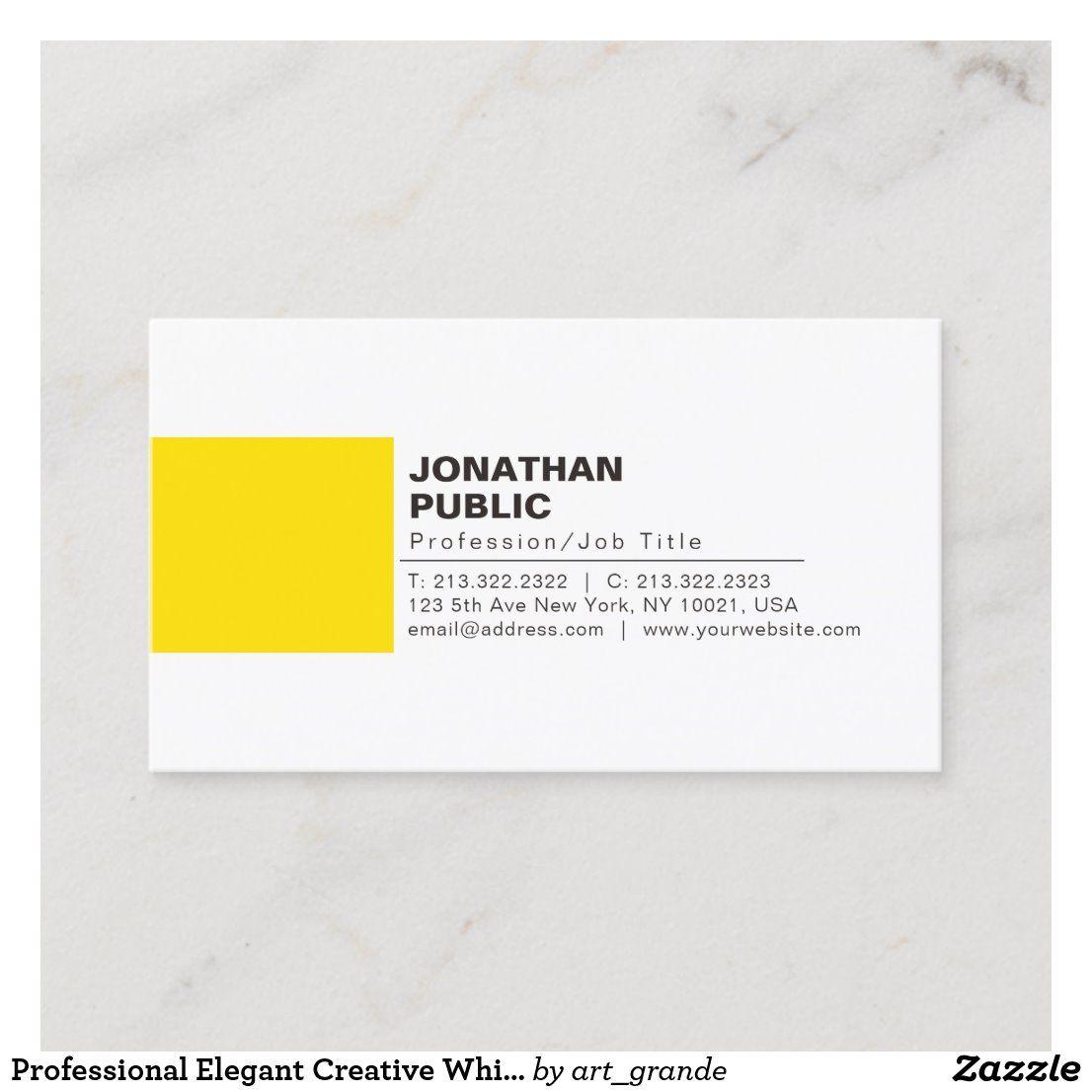 Professional Elegant Creative White Yellow Plain Business Card Zazzle Com In 2021 Business Card Inspiration Cool Business Cards Business Cards Creative
