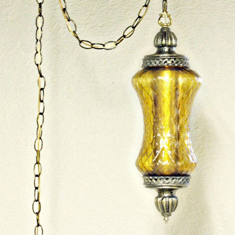 Vintage hanging light - hanging l& - swag l& - clear globe - spool shape -  sc 1 st  Pinterest & Vintage hanging light - hanging lamp - swag lamp - clear globe ... azcodes.com