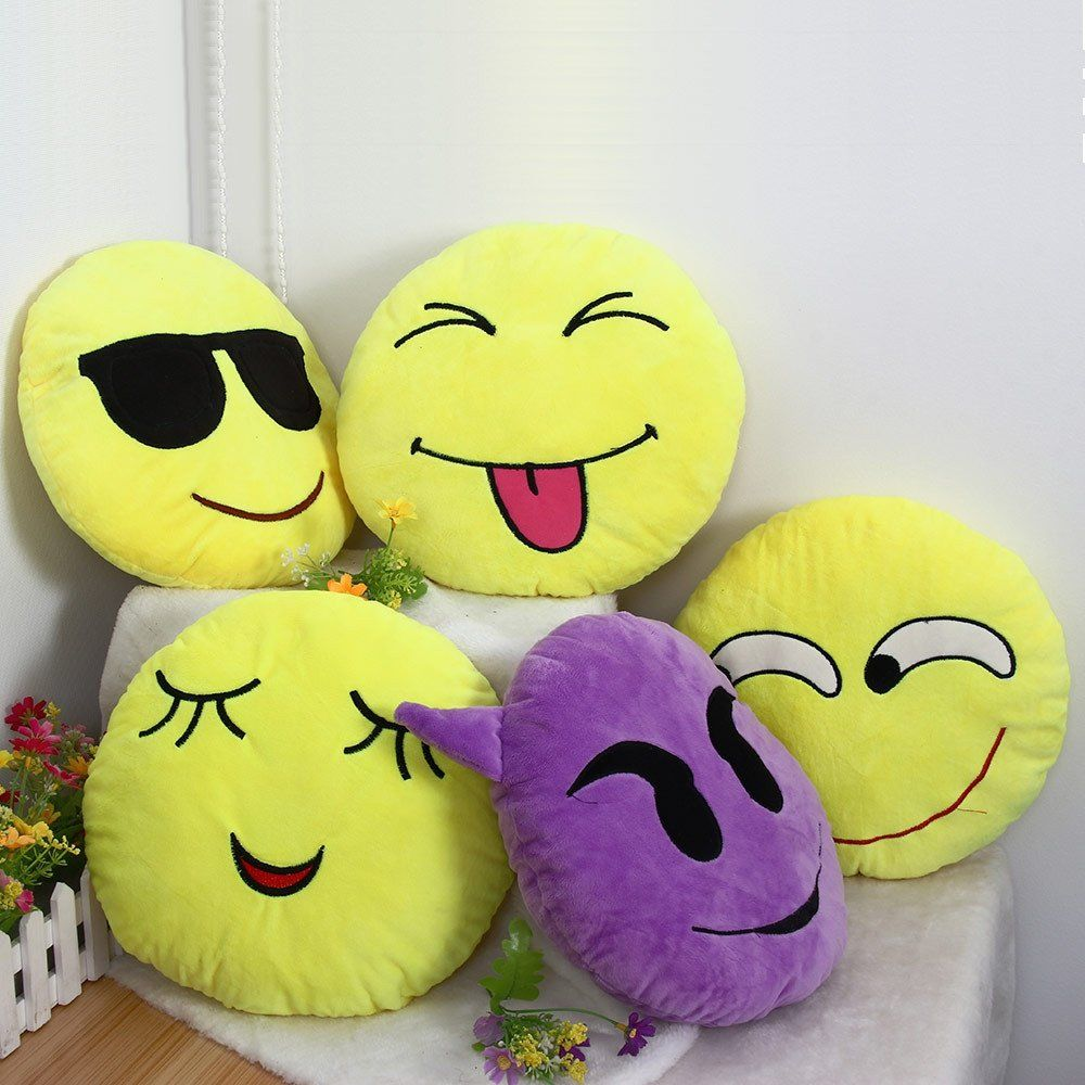 Soft emoji smiley emoticon round cushion pillow sofa stuffed cushion