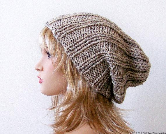 Knitting Pattern Knit Slouchy Beanie Pattern Slouchy Hat Pattern