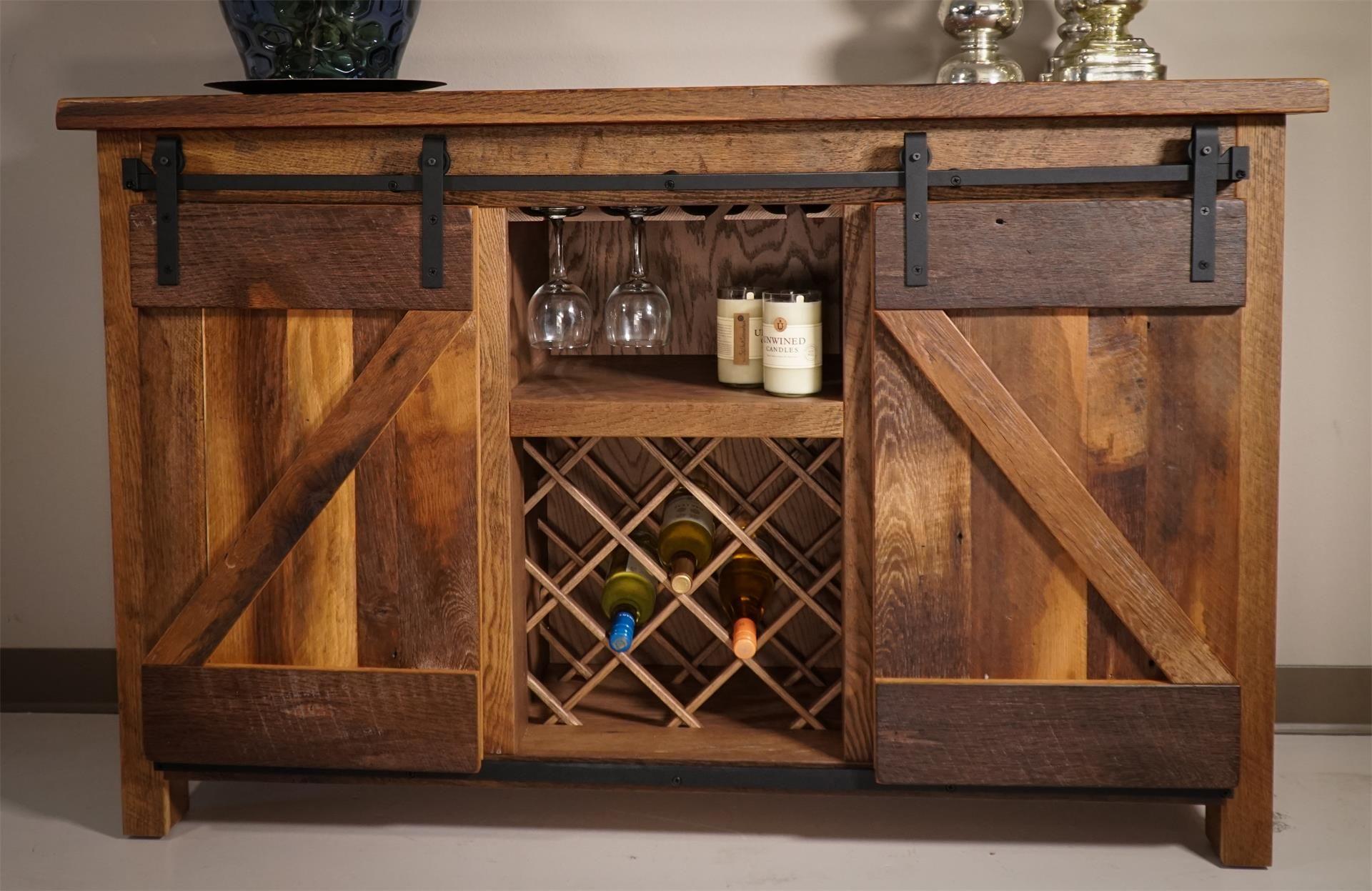 Sliding Barn Door Buffet | Sliding barn doors, Wine cabinets and ...