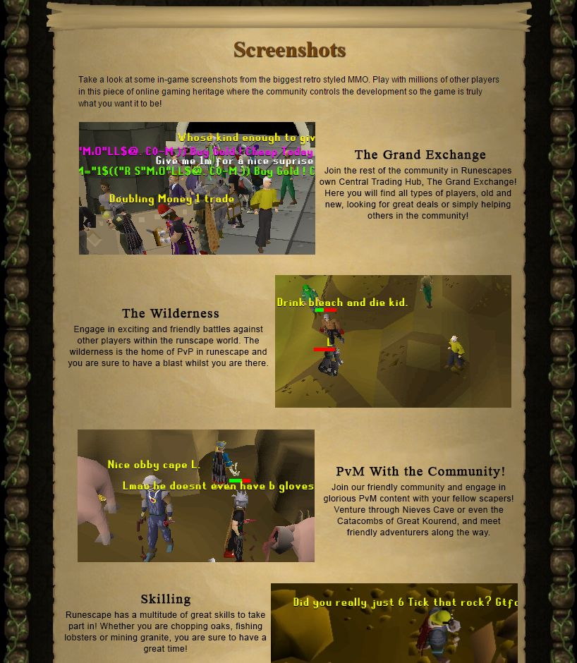 If the OSRS website had a Screenshots section | RuneSwap