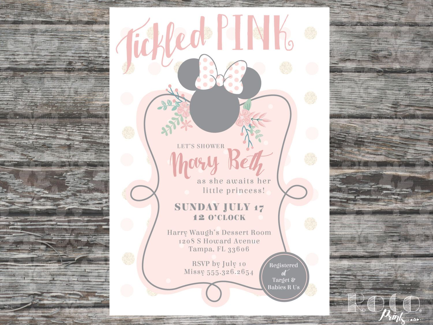 Tickled Pink Polka Dot Minnie Mouse Disney Baby Shower Invitation by ...