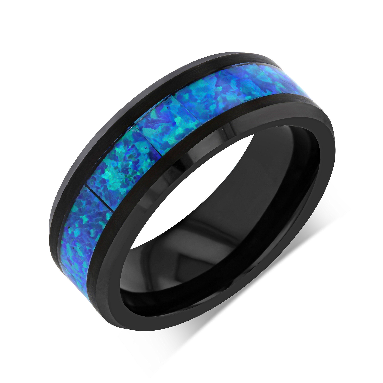 Black Tungsten Opal Wedding Band Opal Wedding Band Ring Etsy In 2020 Rings Mens Wedding Bands Opal Wedding Band Mens Wedding Bands Blue