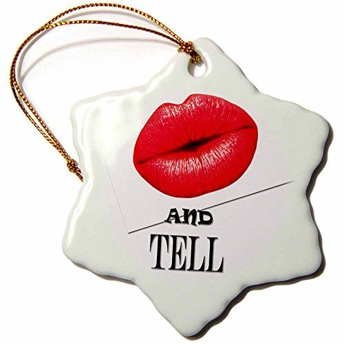 RinaPiro - Love Quotes - Kiss and tell. Hot red lips. - 3 inch Snowflake Porcelain Ornament (orn_233932_1) >>> You can get additional details at