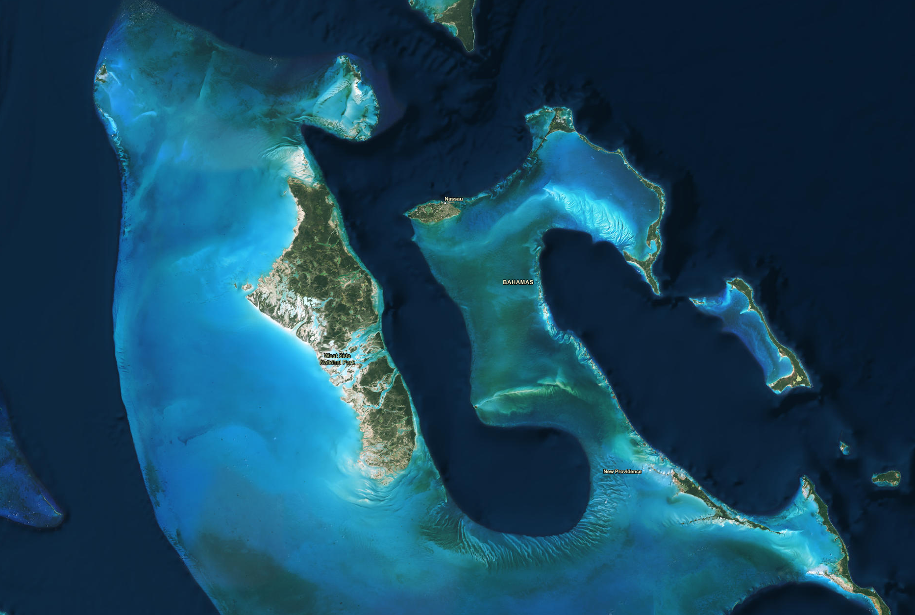 The Bahamas from the ArcGIS Imagery Hybrid