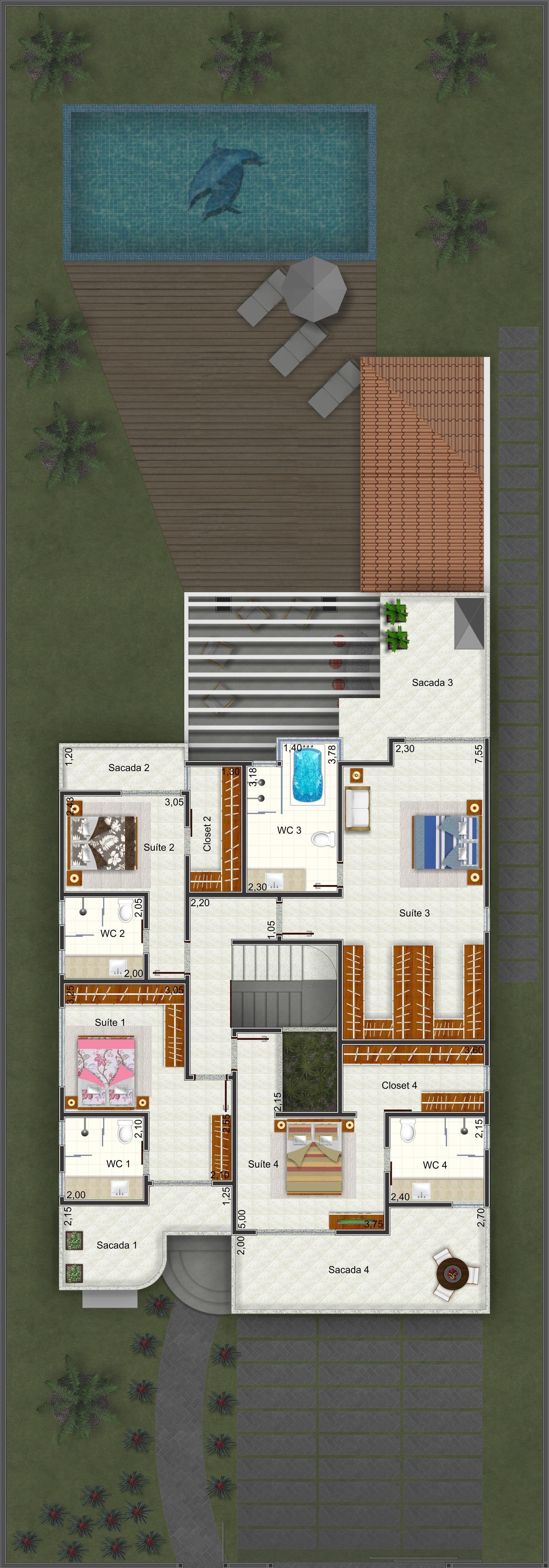 Planta de Sobrado - 4 Quartos - 326.61m² - Monte Sua Casa | Floor ...