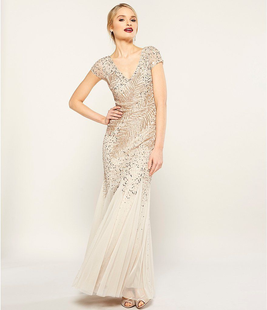 Adrianna Papell Beaded V Neck Gown Lace Evening Gowns Lace Evening Dresses Evening Dresses