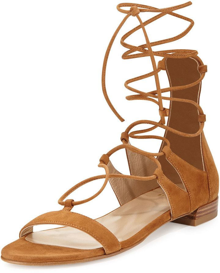 Stuart Weitzman Woman Lace-up Embellished Suede Sandals Brown Size 38 Stuart Weitzman kxaRtC5jmE