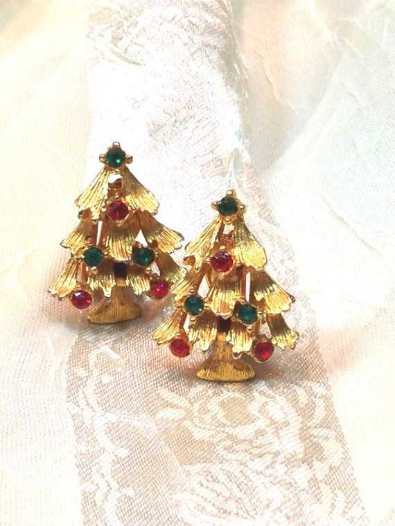 7b7e7174c Vintage Christmas Tree Earrings Clip Ons 1970s Also Standalone Home Decor!  by NorthCoastCottage Jewelry Design & Vintage Treasures on Etsy.com, $39.00