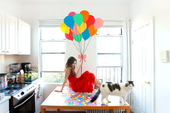 balloons in the kitchen