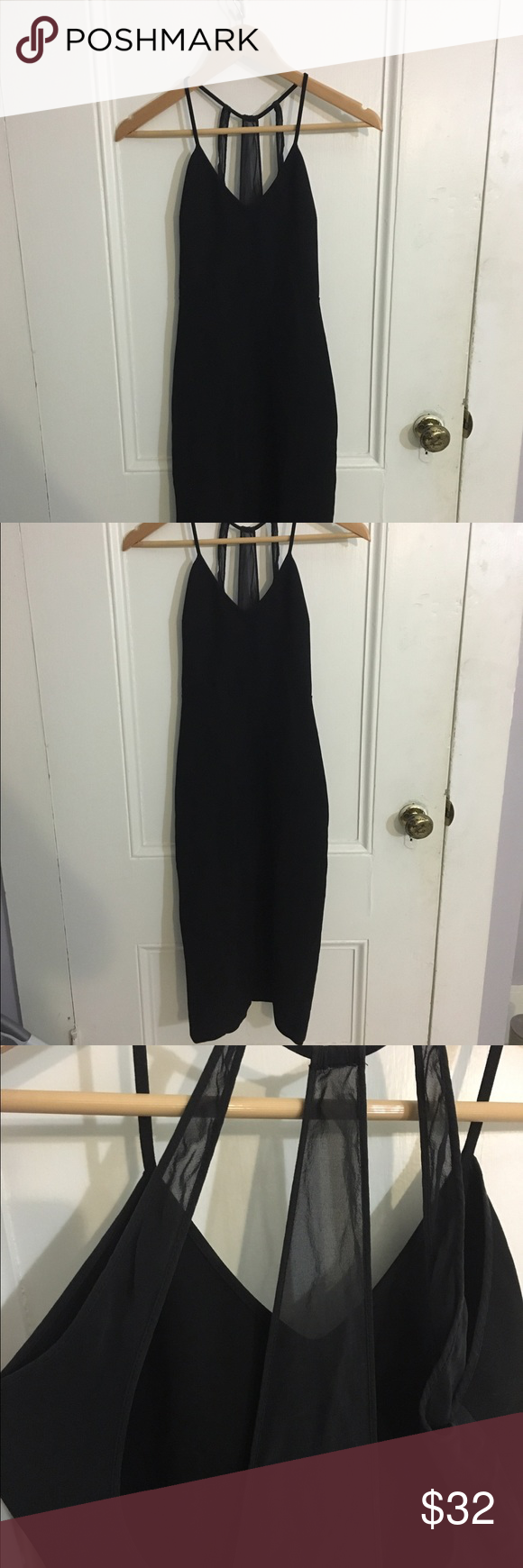 Never worn zara black dress with mesh detail zara black dress