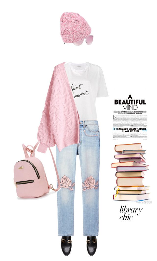 """""""Library chic #811"""" by meryflower ❤ liked on Polyvore featuring Yves Saint Laurent, Bliss and Mischief, Versace, malo and librarychic"""