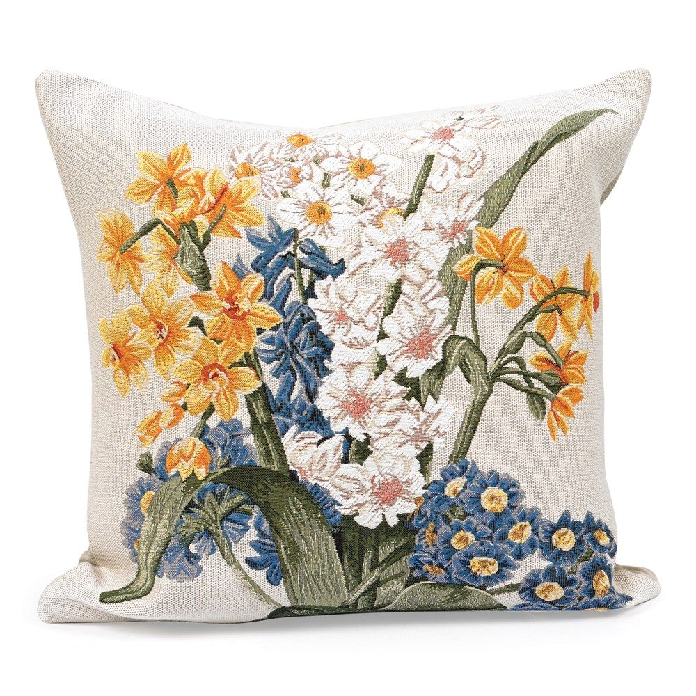 Primroses And Narcissus Tapestry Pillow With Images Floral