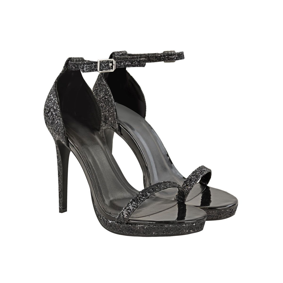 Black nina sandals - Black Glitter Ankle Strap Platform Peep Toe Stiletto Sandals Nina