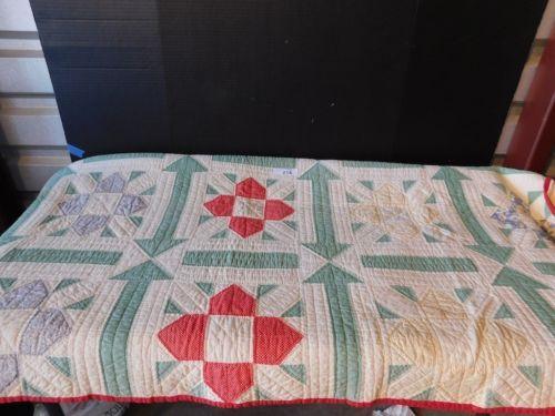 Antique-VTG-Hand-Pieced-Quilted-Feedsack-Material-Quilt-1930-40s ... : piecing quilt batting - Adamdwight.com