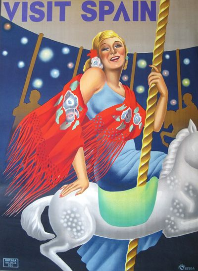 Visit Spain vintage travel poster. Woman on carousel with white horse.