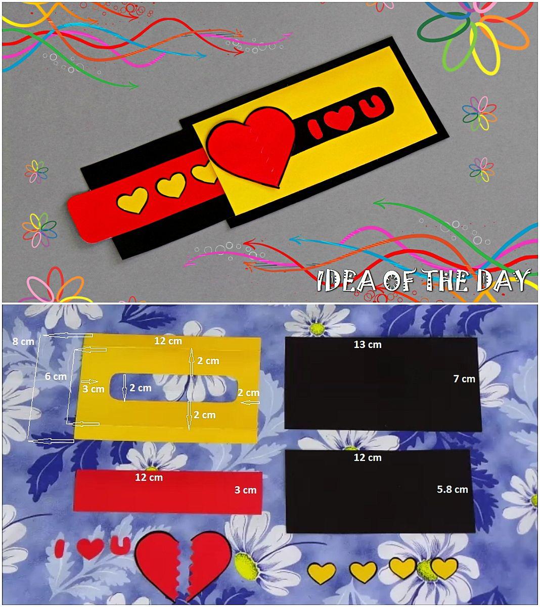Diy Love Slider Card Tutorial This Measurements For Love Slider Card How To Make Love Slider Card By I Slider Cards Greeting Cards Handmade Cards Handmade