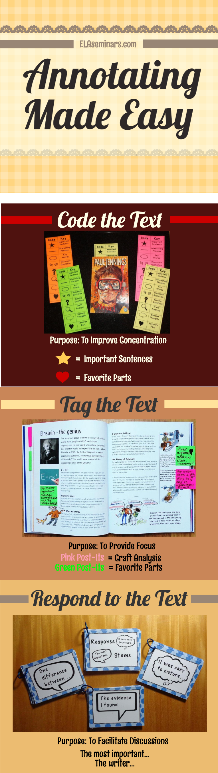 #writerreporterauthor #assignments #proficient #annotation #colorcoded #annotating #struggling #available #academic #interact #response #favorite #annotate #pictured #graphicClose Reading Annotation Tools Three Ways to Annotate: 1) Code reading assignments with your favorite graphic codes. 2) Tag text with a purpose by using color-coded Post-Its. 3) Use academic response stems to interact with the writer/reporter/author. **Annotating helps struggling readers to focus and proficient readers to lo