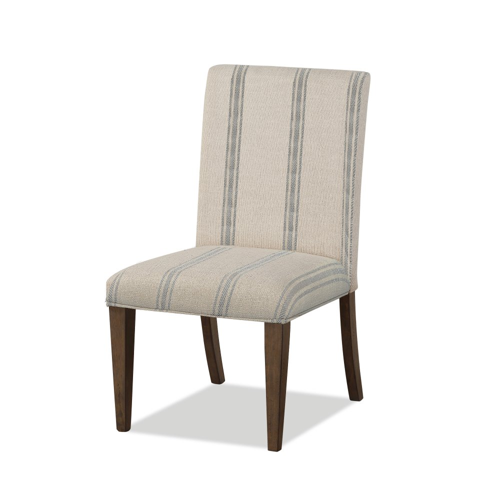 Blue Striped Upholstered Dining Chair