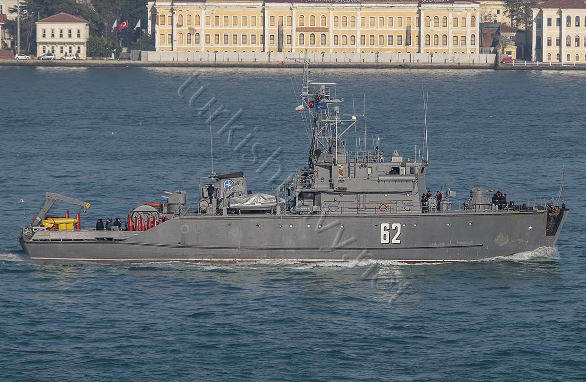As part of a Standing NATO Mine Countermeasures Group 2 exercise, Bulgarian mine sweeper BGS Shkval making her northbound passage through Istanbul Strait.