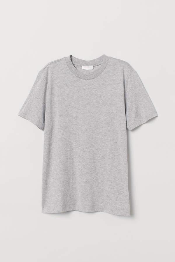 Silk Blend T Shirt Light Gray Ladies H M Us Pakaian Pria Kaos Desain Pakaian