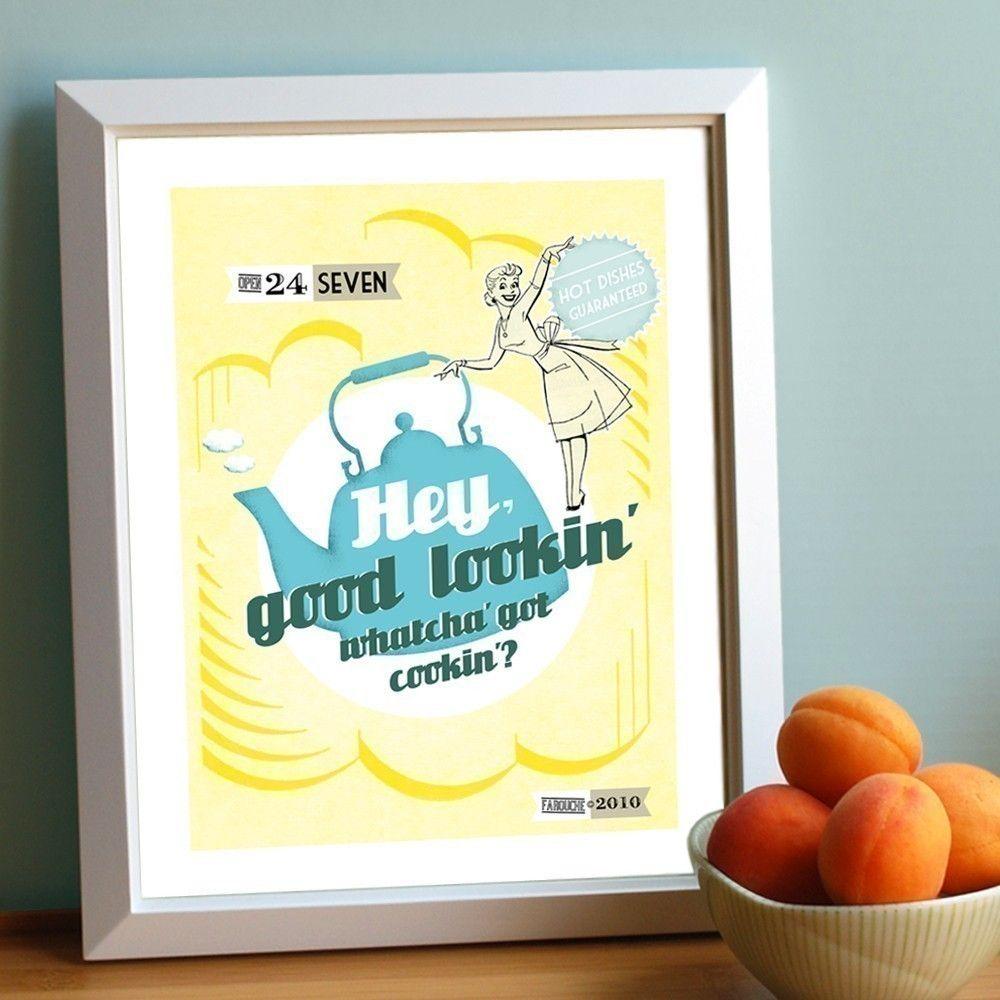Hey good lookin kitchen print large size yellow wall art blue