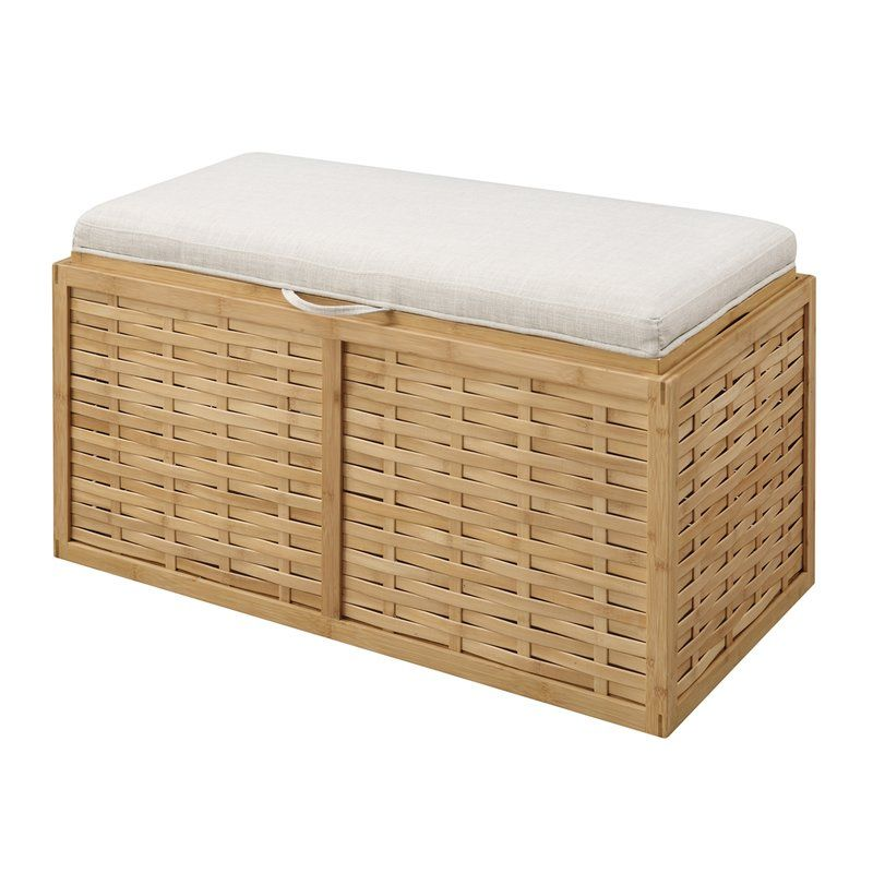 The Wyland Double Bamboo  Ottoman is a perfect piece for any type of home. Featuring an all natural Bamboo body with weaved sides and a beige linen cushioned top. The removable lid provides easy access to additional storage, and serves as a tray. Whether you're in a beach home, or your everyday home, this piece will add a touch of style and functionality that can be enjoyed for years to come.