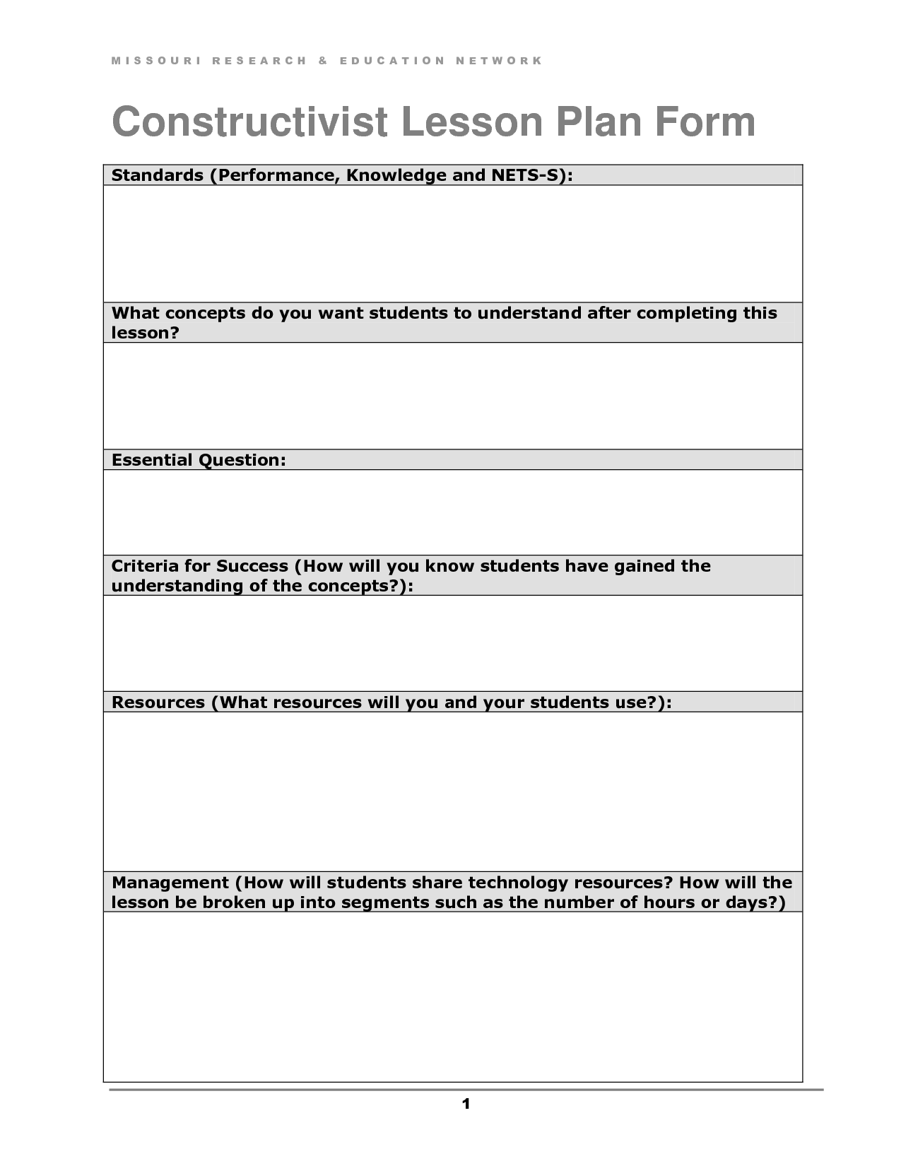 Constructivist Lesson Plan Form  Doc  Doc By OzcHx
