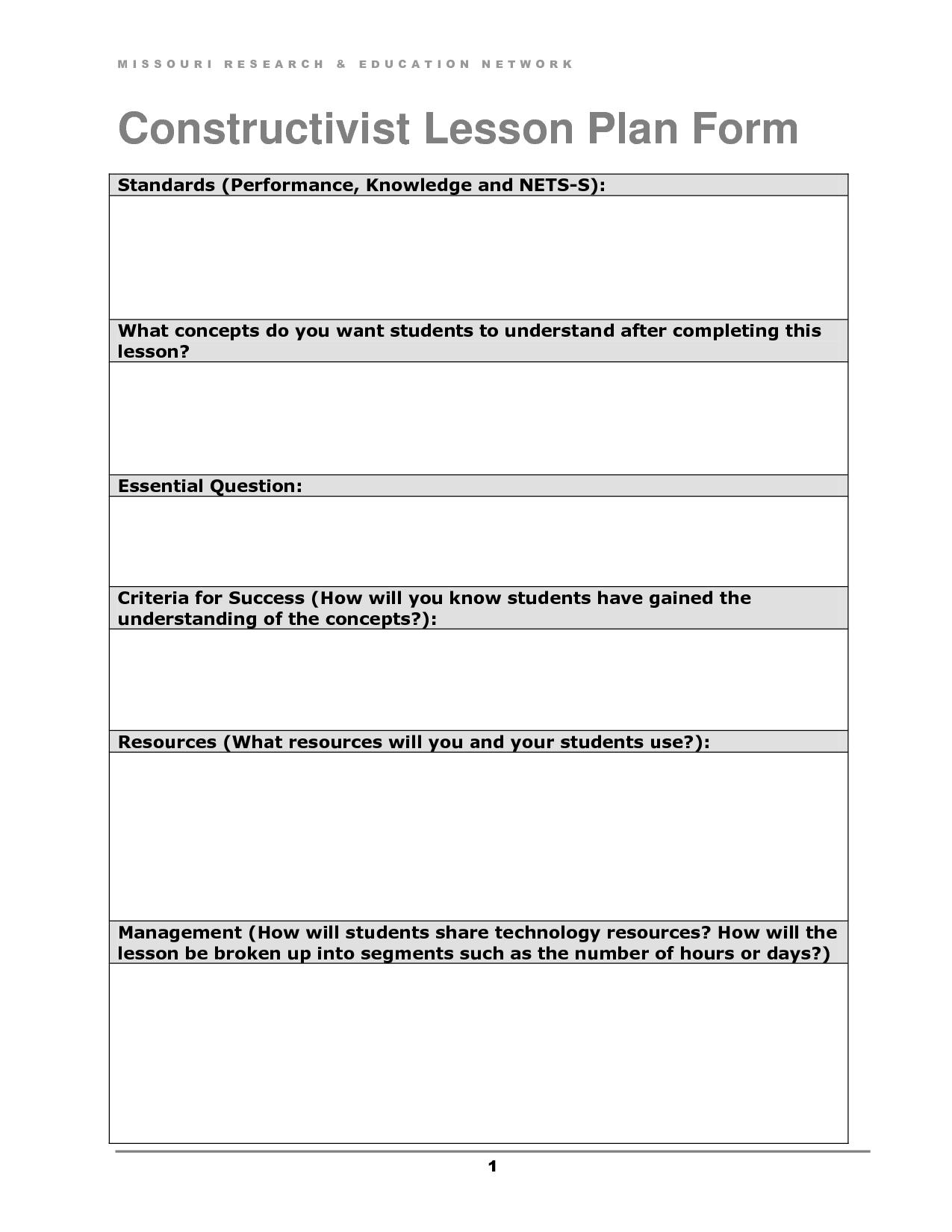 Constructivist Lesson Plan Form