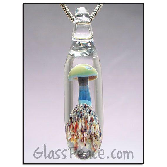 Blacklight reactive uv glass mushroom pendant glass peace glass mushroom necklace glass pendant lampwork focal bead by glass peace 1300 aloadofball Images