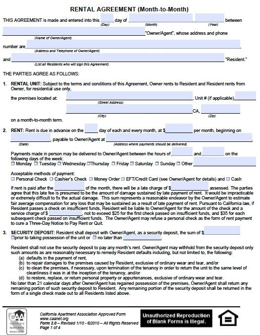 Printable Sample Monthly Rental Agreement Form | Real Estate Forms