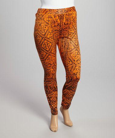 Orange Maze Leggings - Plus #zulily #zulilyfinds