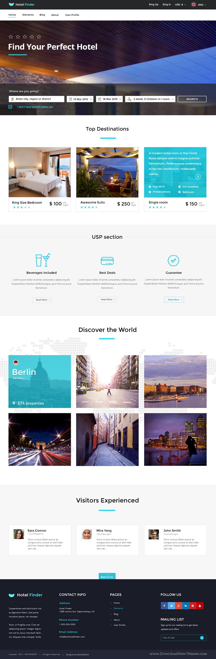 Hotel Finder - Online Booking HTML Website Template | Hotel finder ...