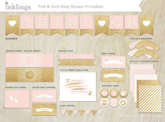 Bridal Shower Decorations, Birthday Decorations, Birthday Ideas, Shower  Centerpieces, Pink And Gold, Blush Pink, Baby Shower Pink, Gold Print, Gold  Birthday