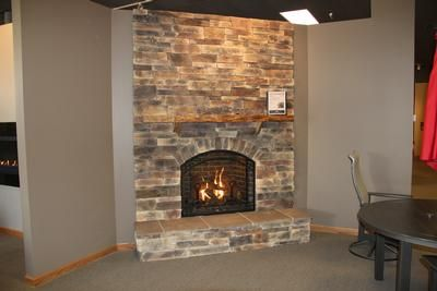 Kozy Heat Alpha Gas Fireplace, Boral Wolf Creek Country Ledge Stone