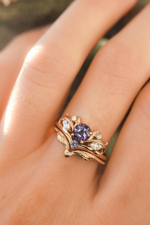 Alexandrite bridal ring set, nature engagement rin