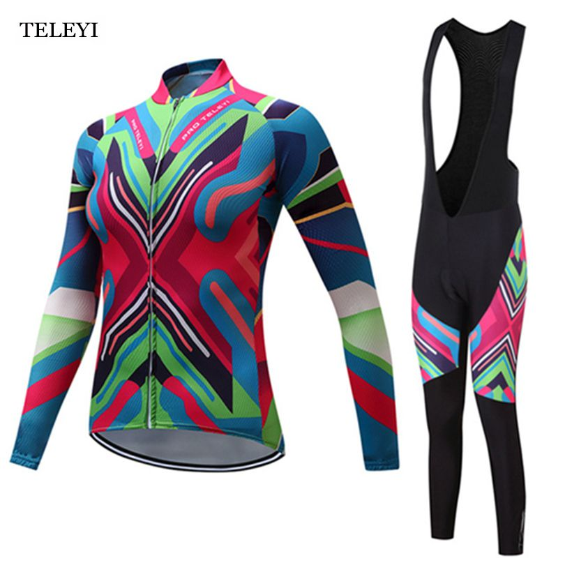 TELEYI Cycling Pro Team Women s Long Sleeve Ropa Ciclismo Cycling Jersey  Sets Winter Pro Racing fc529df60