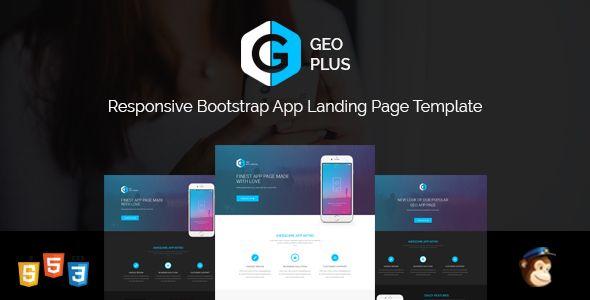 GEO PLUS - Responsive App Landing Page Template Bootstrap 3 and - app landing page template