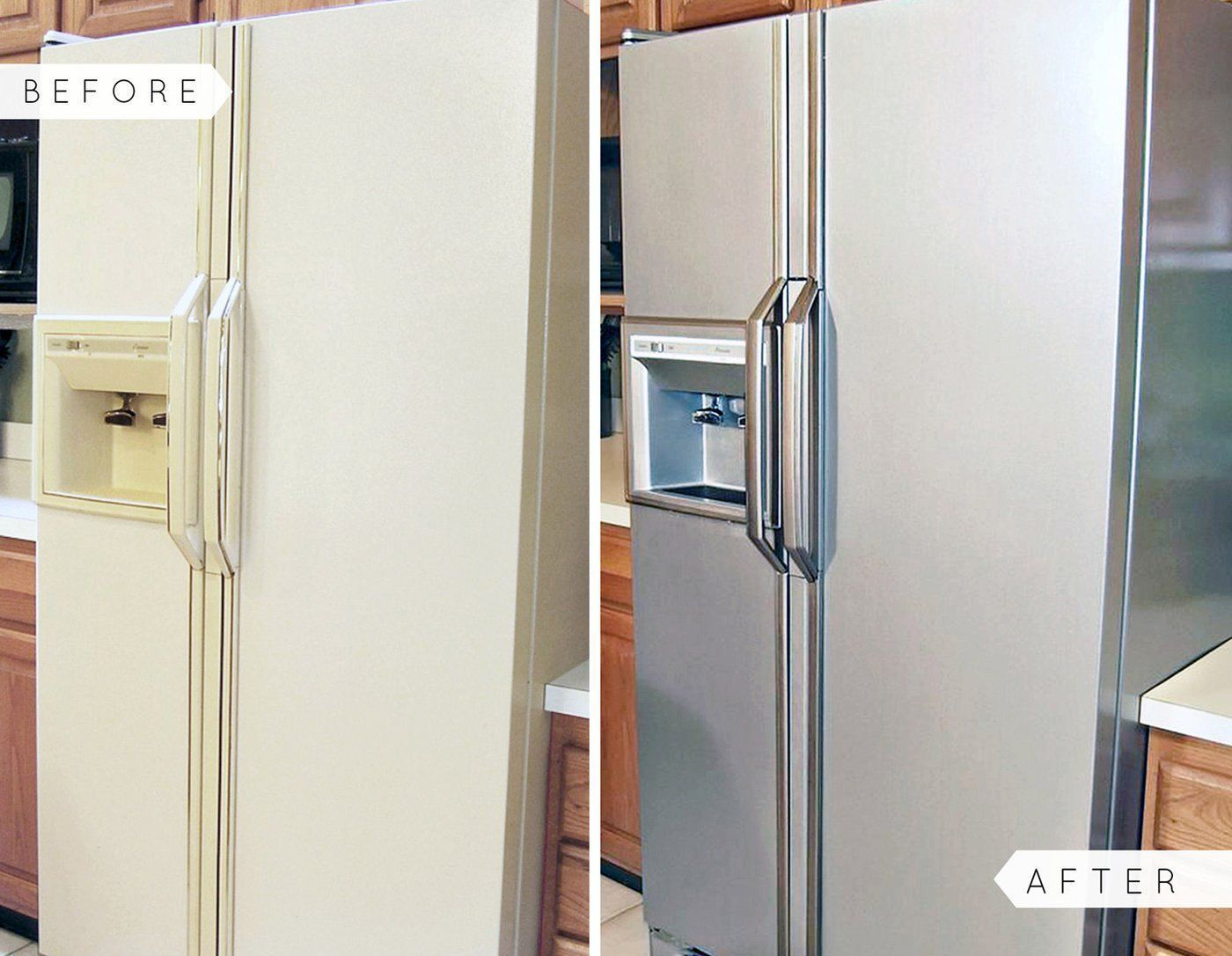Liquid Stainless Steel Fridge Kit Stainless Steel Paint Budget Kitchen Makeover Kitchen Cabinets Makeover
