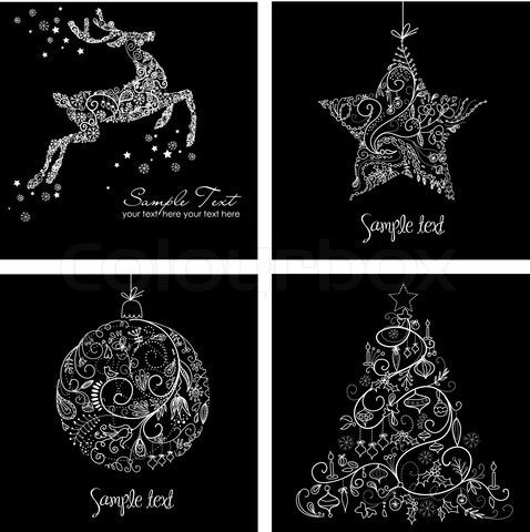 Vector Of Black And White Christmas Cards Black Christmas Cards Christmas Card Images Printable Christmas Cards