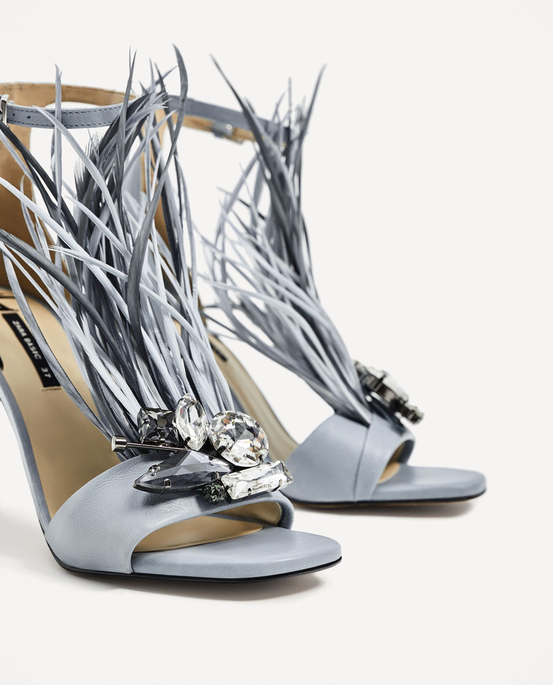 67146c60ed2 ZARA - WOMAN - HIGH HEEL LEATHER SANDALS WITH FEATHERS