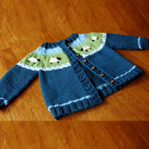 We Like Knitting Sheep Yoke Baby Cardigan Free Pattern Knitting